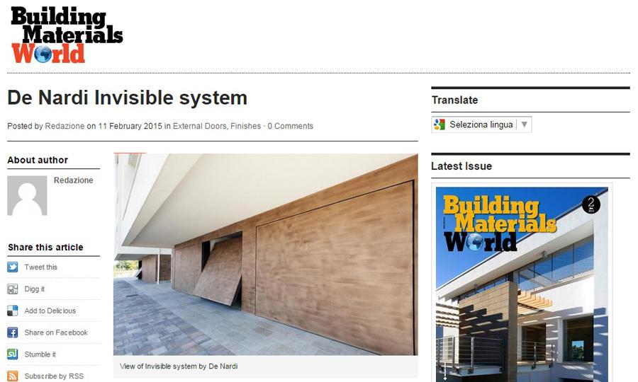 Invisible de nardi for I 10 building materials